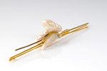 Stabnadel 585/Gelbgold und Weißgold mit einer barocken Perle und Brillant